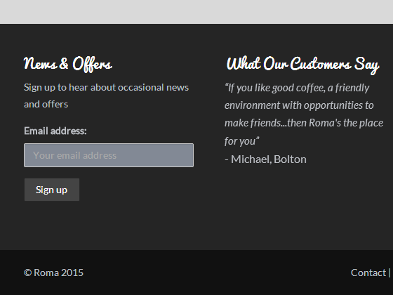 News & Offers Sign up